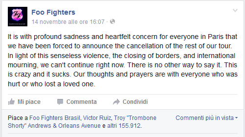 Foo Fighters after Bataclan Shootings